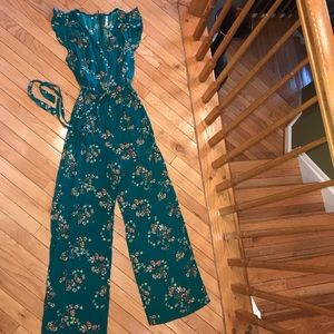 Xhilaration One Piece Teal Floral Jumper Sz XXL